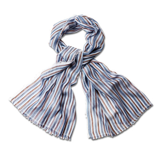 alpi 50 Grams Striped Scarf Superbly soft Italian woven fabric. Fine shimmer. Harmonious colour scheme. By alpi.
