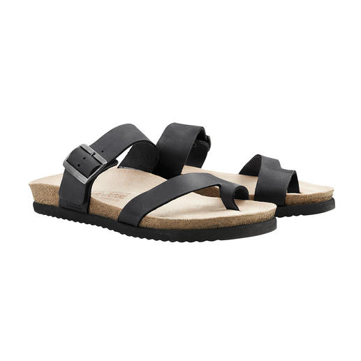 Feels like walking on moss so no tired feet. Comfortable from day one. Feels like walking on moss. Comfortable from day one. Leather Mephisto sandals with Soft-Air cork footbed.