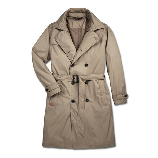 A practical items is rarely this smart: The trench coat by rainwear specialists Knirps®. Water repellent and breathable. Easy to store and wonderfully light. Washable and quick to dry.