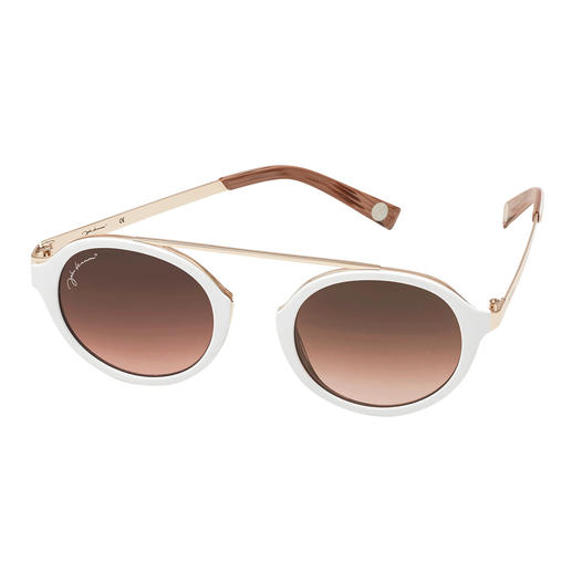 Cool White Sunglasses - On-trend round glasses. Retro shape without nose bridge. At a really affordable price.