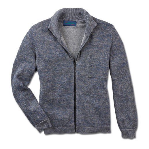 Carbery Double-faced Cardigan - Irish knitwear by Carbery: Linen with merino wool on the outside. Soft cotton on the inside.