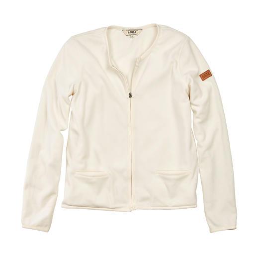Unusually elegant: The Polartec®-microfleece jacket in couture style. Unusually elegant: The Polartec®-microfleece jacket in couture style. By French outdoor specialist Aigle.
