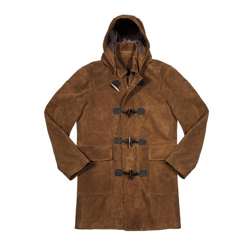 Hackett London Goat Suede Duffle Coat Made of the finest goat suede: The premium class of the typical British duffle coat. By Hackett London.