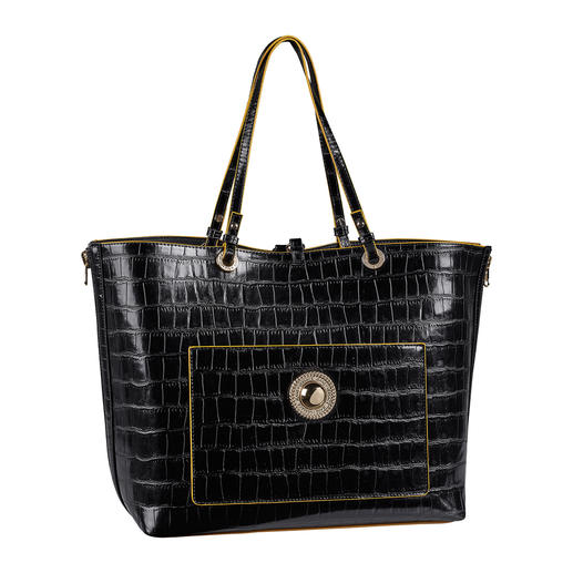 Versace Jeans 2-in-1 Shopping Bag Two designer bags for the price of one. The crocodile look shopping bag with integrated handbag.