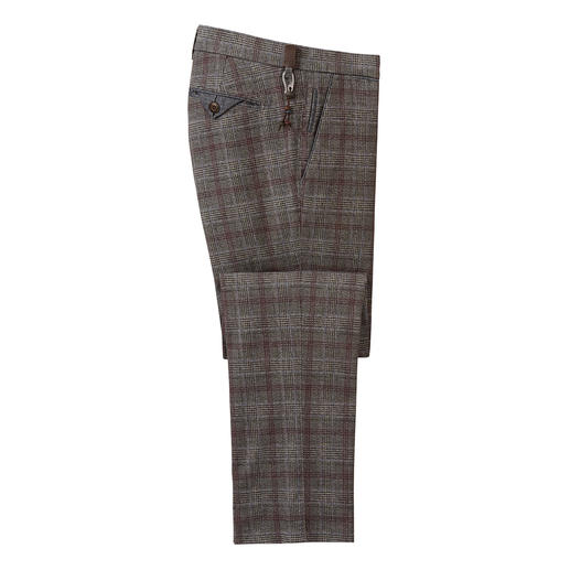 Brax Wool Look Glen Check Trousers Business-appropriate virgin wool look – but made of soft, scratch-free cotton flannel. By Brax.