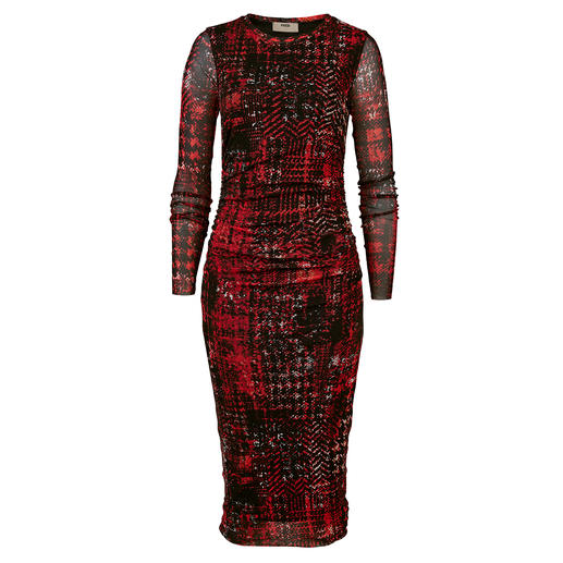 Fuzzi Easy To Pack Houndstooth Dress - A designer dress for your handbag. For numerous occasions. Made of delicate tulle jersey. Weighs only 185g.