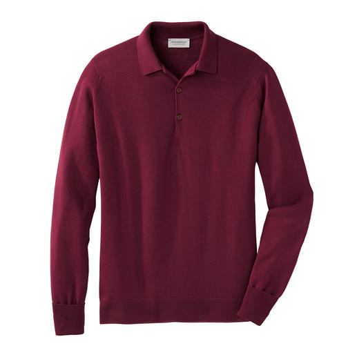 Your most stylish longsleeve polo. Rare 30 gauge fine knitwear. Finest New Zealand merino wool. By John Smedley, England.