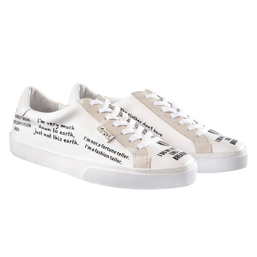 Lagerfeld statement trainers Eternally classic white trainers + trendy statement prints: perfect with original ingredients. Karl Lagerfeld.
