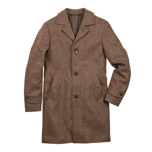 Jacob sheep coat A trendy piece of clothing with rarity value: The Glencheck coat made of undyed Jacob sheep's wool.
