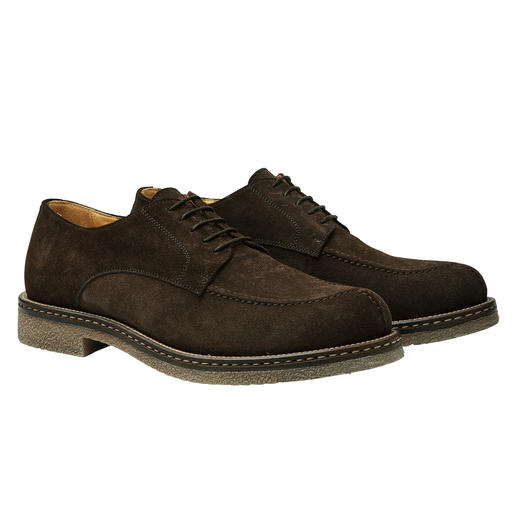 Trendy derby style. Winterproof crepe soles. Water-repellent suede. Trendy derby style. Winterproof crepe soles. Water-repellent suede. Affordable luxury made in Italy.