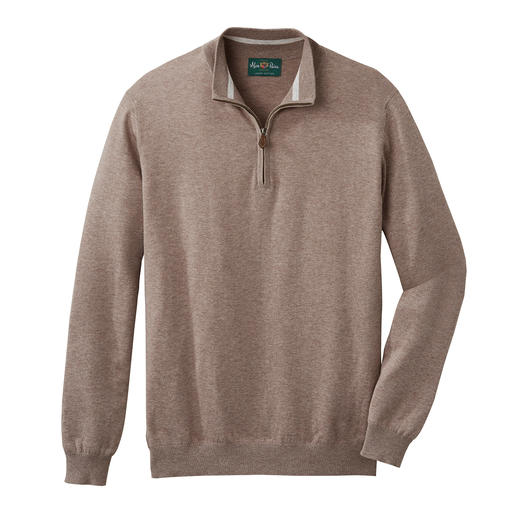 Exceptionally stylish. Ideal throughout the year. Exceptionally stylish. Ideal throughout the year. The fine knit zip-neck pullover made of Pima cotton.