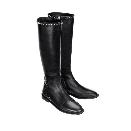 MA&LÒ Studded Boots Narrow, pointed design. Polished black nappa leather. Subtly embellished. Made in Italy, by MA&LÒ.