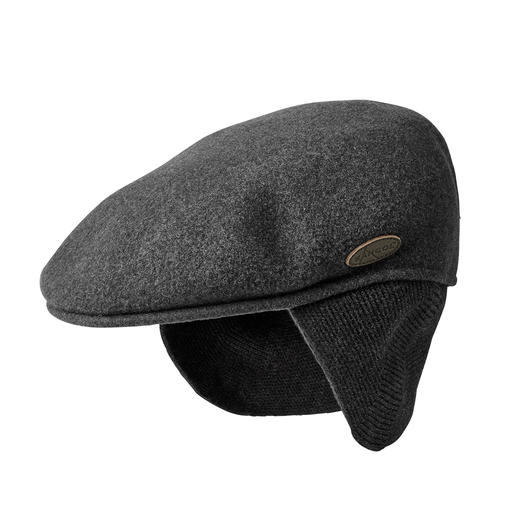 Kangol® Ear flaps-flat cap The current trend: Flat caps. This is the Kangol®-Original from 1954. With fold-out neck and ear flaps.