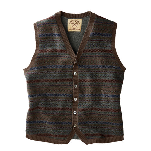 Alan Paine Fair Isle Waistcoat The British original among many trendy patterned waistcoats. Knitwear by Alan Paine.