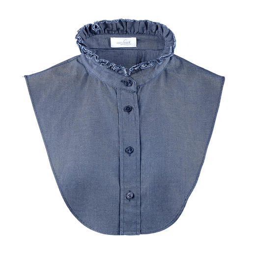 van Laack Denim Collar Casual denim fabric. Elegant blouse-like look, but nothing feels tight or makes you look larger.