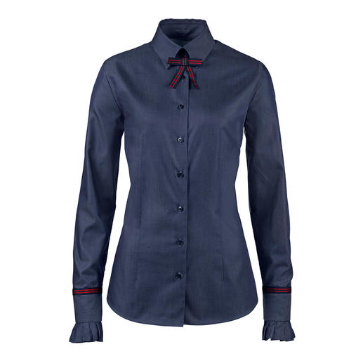 Denim blouse with business appropriate elegance. Finely woven from mercerised cotton. By Germany's blouse specialist van Laack.
