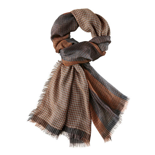 Ascot Pattern Mix Autumn Colours Scarf Stylish pattern mix, rare, elaborate double chain weave. Vichy check on one side, block stripes on the other.