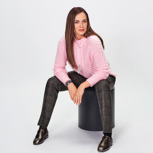 FTC Pattern-Mix Cashmere Pullover Knit trend de luxe: Cashmere pullover with a graphic all-over pattern of stripes and plaits. By FTC Cashmere.