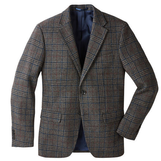 Probably the most elegant tweed jacket is this one, woven in Germany. Classic tartan pattern. Urban colours. Light, supple and soft fabric. Woven in Germany.