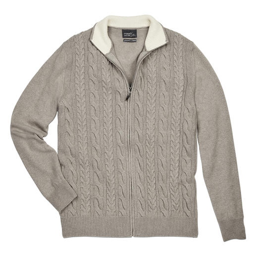 Maselli Braided Knit Zip Jacket Modern cable stitch pattern mix. Fine Merino blend. Made in Italy by Maselli.