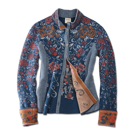 IVKO Jacquard Jacket Floral Blue Exceptional multicoloured jacquard knit. A truly unique piece from Serbia. By IVKO.