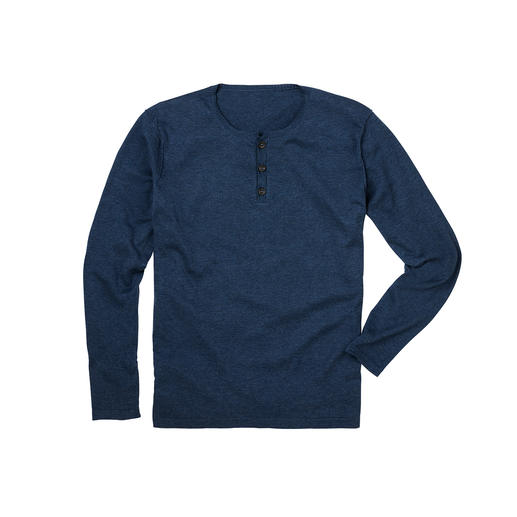 Pima Cotton Henley Shirt Elegant fine knit instead of T-shirt jersey: This Henley shirt is not just for wearing underneath.