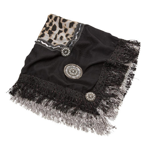 Izuskan Leo Shawl With a silky shimmering jacquard trim, dyed and decorated by hand. By Izuskan, Ibiza.