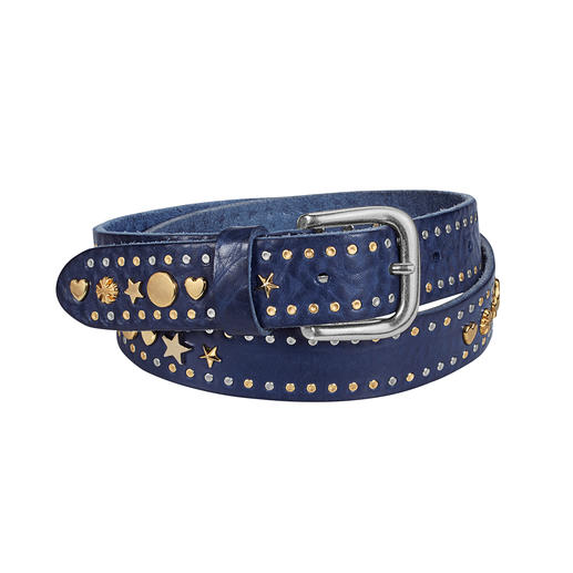 In Vita Studded Belt Two-tone studs, hearts and stars: The fashionable leather belt made in Italy. By In Vita from Verona.