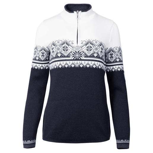 Dale of Norway Women's Zip Neck Pullover Not just any Norwegian pullover. The original zip neck pullover of the Norwegian national team.