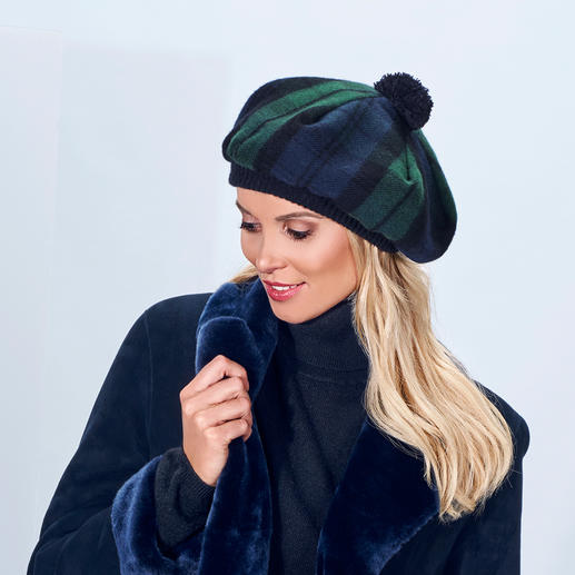 Lochcarron Scottish Cap - Traditional black watch modern tartan. Pure lamb's wool. Made in Scotland.