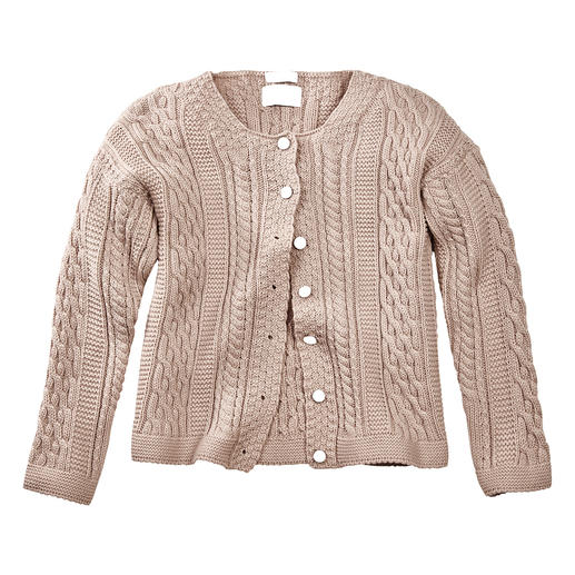 Peregrine Aran Cardigan for Women The stylish answer to common cable knits: Traditional Aran pattern knitted in England.