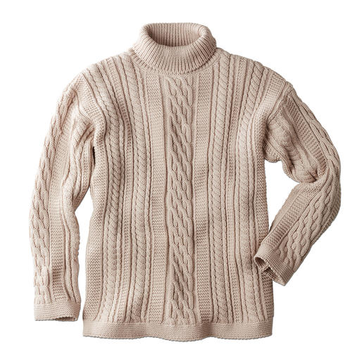 Peregrine Aran Roll-Neck Pullover for Men The stylish answer to common cable knits: Traditional Aran pattern knitted in England. By Peregrine.
