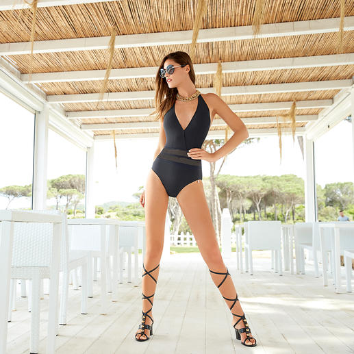 Opera Mesh Swimsuit, striped Conceals and covers like a swimsuit. Seductive like a bikini. The elegant mesh swimsuit by Opera®.
