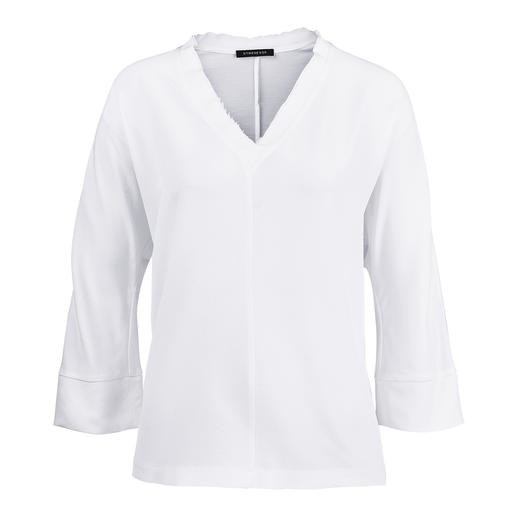 "Strenesse Silk Shirt Style Blouse Sporty cut. Elegant fabric. Strenesse has the perfect blouse for a ""sporty elegant"" theme."