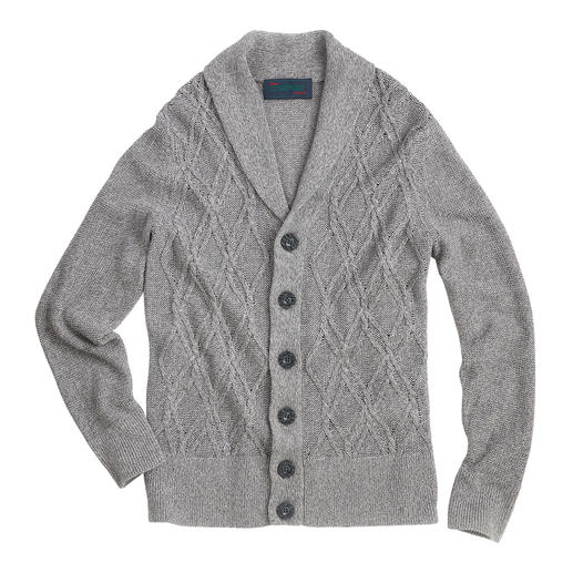 Carbery Aran Summer Cardigan Aran knit art in a summery style. The airy linen/cotton cardigan – made in Ireland by Carbery.