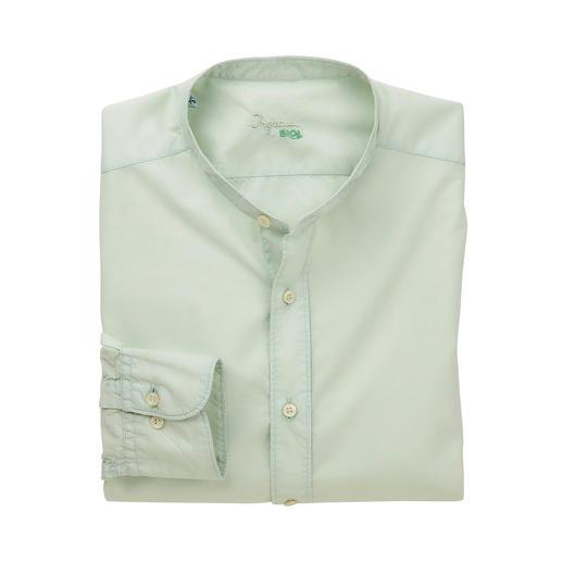 Formal as cotton poplin. Airy like linen. Lighter than both. Formal as cotton poplin. Airy like linen. Lighter than both. Stand-up collar shirt made of rare muslin fabric.