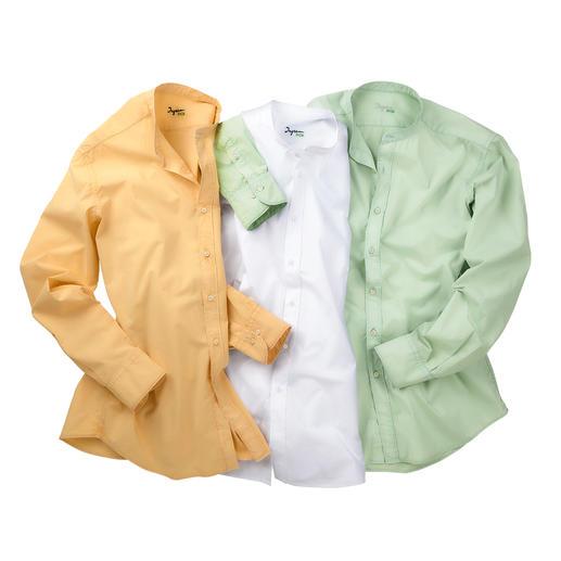 Ingram Basic Muslin Shirt Formal as cotton poplin. Airy like linen. Lighter than both. Stand-up collar shirt made of rare muslin fabric.