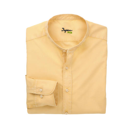 Ingram Basic Muslin Shirt, Light yellow - Formal as cotton poplin. Airy like linen. Lighter than both. Stand-up collar shirt made of rare muslin fabric.