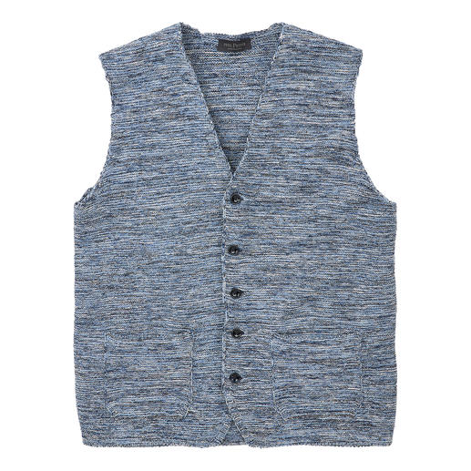 This fashionable knitted waistcoat is truly unique. This fashionable knitted waistcoat is truly unique. The knitted mouliné waistcoat by Phil Petter from Austria.