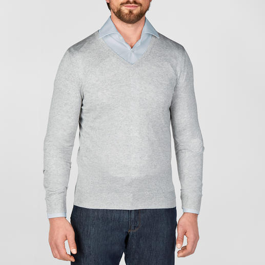V-Neck, Grey Mottled