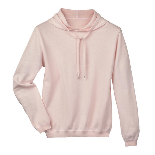 Cotton Cashmere Women's Hoodie Seldom is a casual hoodie so classy. The secret: Cotton/cashmere knit instead of sweatshirt fabric.