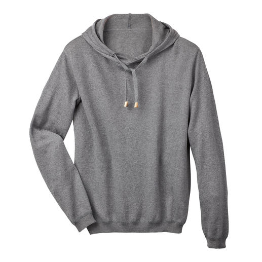 Cotton Cashmere Men's Hoodie Seldom is a casual hoodie so classy. The secret: Cotton/cashmere knit instead of sweatshirt fabric.