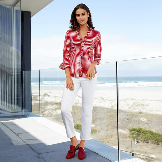 Liu Jo striped blouse - From a classic to a fashionable key piece: The striped blouse. Cutting-edge with Red/Pink and frills.