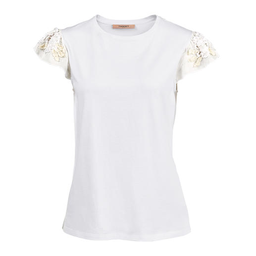 TWINSET Floral Basic Shirt or Top Not just white basics – but decorated with rare, feminine floral motifs. By TWINSET.