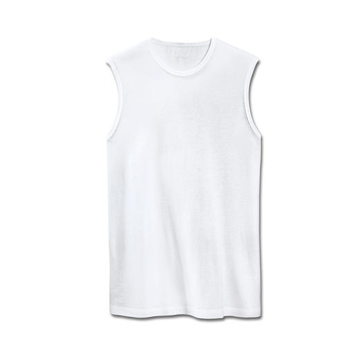 Sleeveless T-shirt, Round neck or V-neck Look smart and neatly dressed; A sleeveless T-shirt.