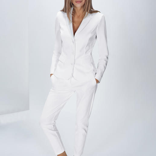 The Pure Barbara Schwarzer Easy-Care-Suit Blazer or Trousers Trendy white suit – but safe for the washing machine! Made from innovative stretchy high-tech jersey.