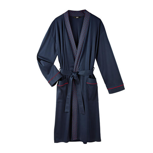 Gentleman Bathrobe Elegant, dark blue jersey instead of soft towelling. 100% cotton, carefully fashioned, made in Germany.