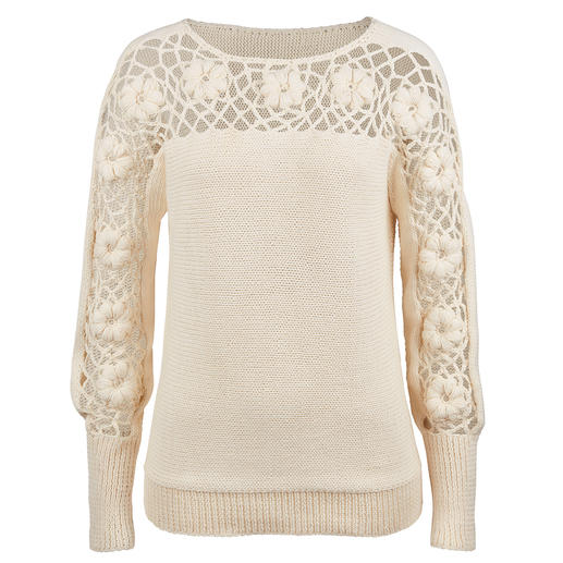 Eribé Floral Pullover More original than most floral patterns: Hand-crocheted in expressive three-dimensional look.