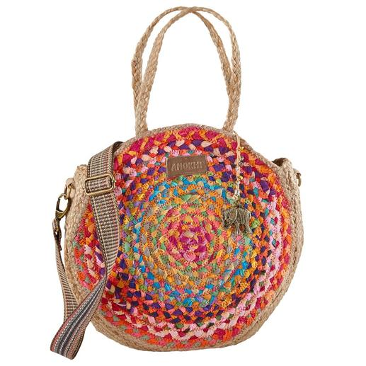 Anokhi jute shopper A fashionable alliance of round jute bag and striking bag strap. From the trendy label Anokhi, Munich.