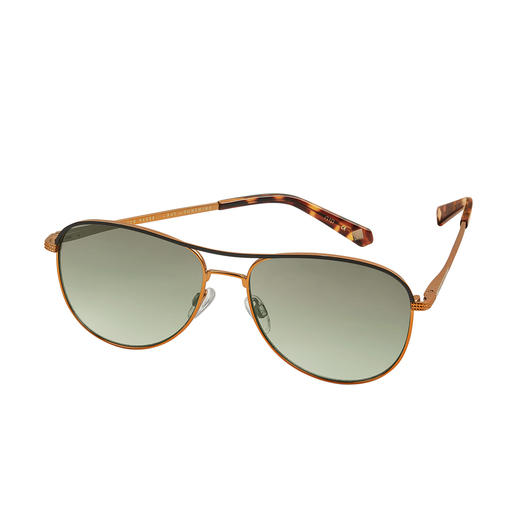 Ted Baker Pilot Sunglasses Typical: The fashionably sophisticated Brit-chic style. Atypical: The pleasantly affordable price.
